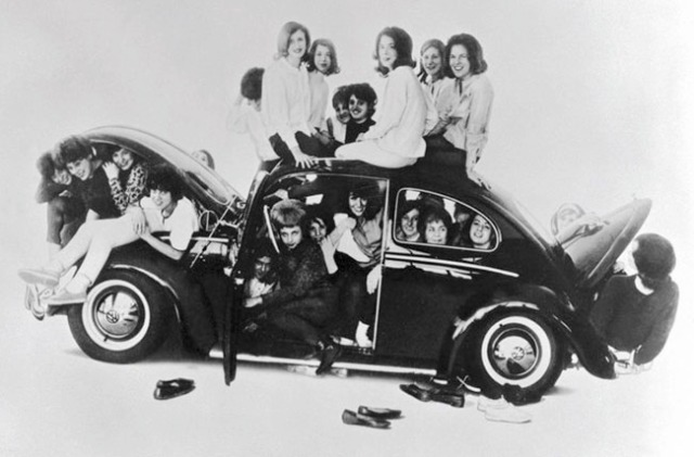 Stuffing 11 Pledges in the back seat of Sandy's car, kicked off Saffron Hell Week in 1964